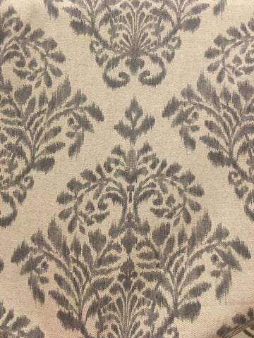 Sale Damask Fabric In Gray On Linen