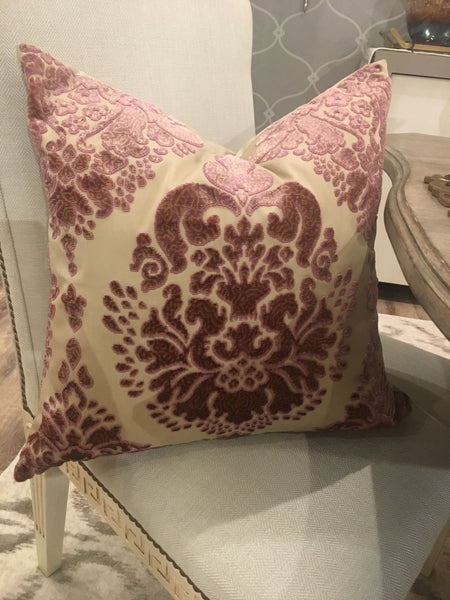 Custom made Rose Velvet Damask Pillow with Down Insert