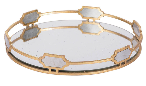 Gold Round Mirrored  Tray