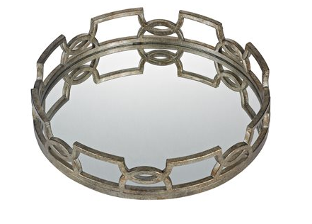 Iron Mirrored  Scrollwork Tray