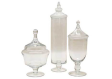 S/3 Apothecary Glass Candy Jars With Lids