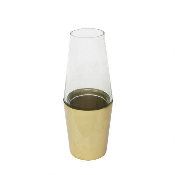 Elegant Metal and Glass Table Vase