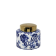 Blue & White Floral Jar with Gold Top
