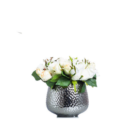 White Rose In Sm Silver Pot