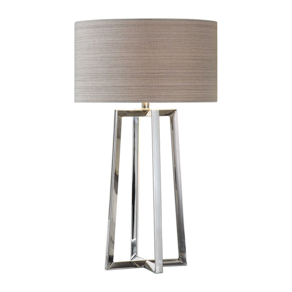 Triangular Shaped Leg Polished Stainless Steel Lamp