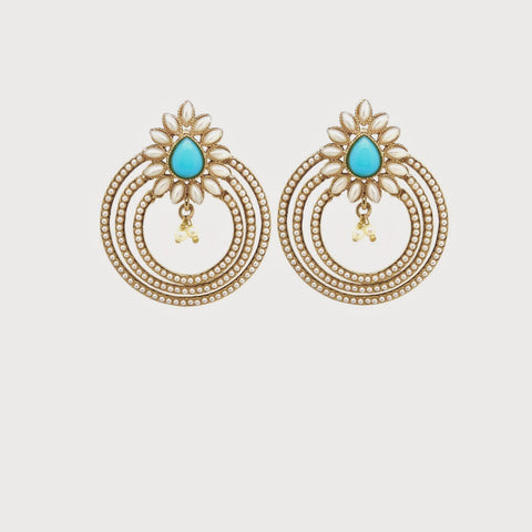 Perfect Look In White & Turquoise Color Earrings