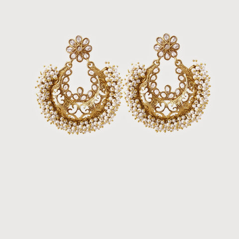 Perfect Look In Yellow & White Color Artificial Jewellery Earrings