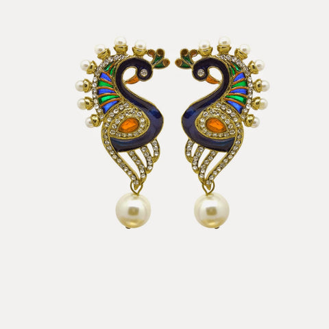 Yellow, Orange, Blue & White Color Earrings in Traditional & Designer Look