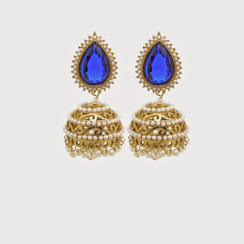 Perfect look Yellow, Blue & White Artificial Jewellery Earrings