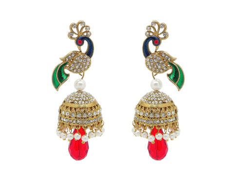 Perfect look Yellow, Red, Green & White Earrings