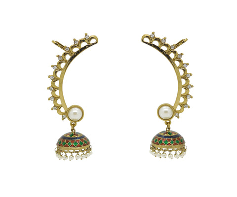 Perfect look Yellow, Red & Green Artificial Jewellery Earrings