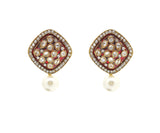 Perfect look Red & White Artificial Jewellery Earrings