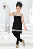 Girl's Incredible Black Art Silk in Embroidered Readymade Salwar Kameez