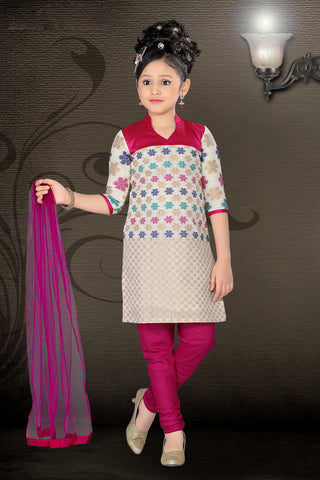 Girl's Incredible Violet Art Silk in Embroidered Readymade Salwar Kameez