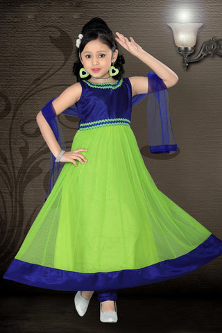 Girl's Incredible Blue color Art Silk Readymade Salwar Kameez in Embroidered with Mix Embroidery