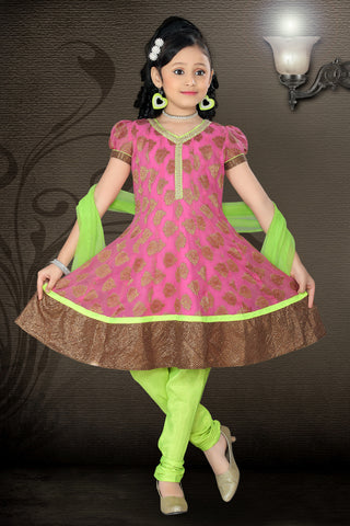 Girl's Incredible Green Art Silk in Self Design Readymade Salwar Kameez