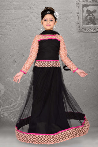 Net & Incredible Black Color With Lace & Resham Work Readymade Lehenga Cholis