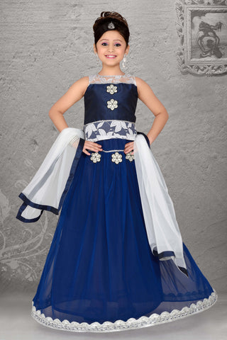 ArtSilk & Incredible Blue Color With Crystals & Lace Work Readymade Lehenga Cholis