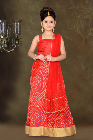 Net & Incredible Red Color With Lace & Resham Work Readymade Lehenga Cholis