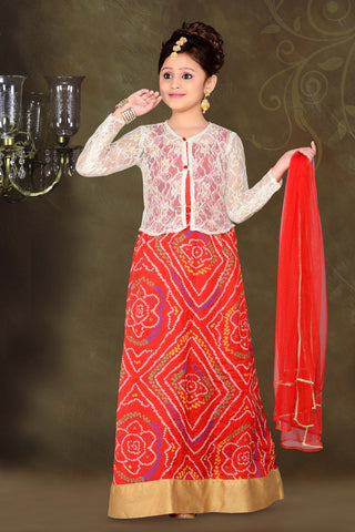 ArtSilk & Incredible Red Color With Printed Work Readymade Lehenga Cholis