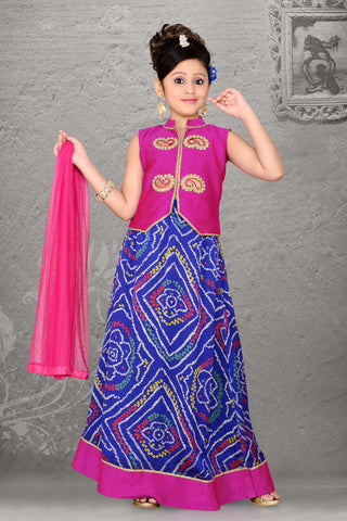 CrepeSilk & Incredible Fuchsia Color With Printed & Resham Work Readymade Lehenga Cholis