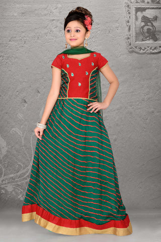 CrepeSilk & Incredible Green Color With Printed & Resham Work Readymade Lehenga Cholis