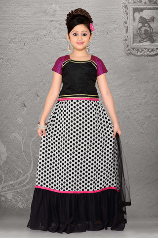 Georgette & Incredible Black Color With Printed Work Readymade Lehenga Cholis