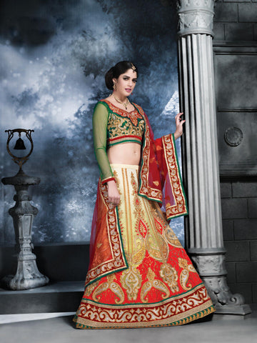 Women's Beige Color Pretty Lehenga Choli With Resham Work In Traditional Look
