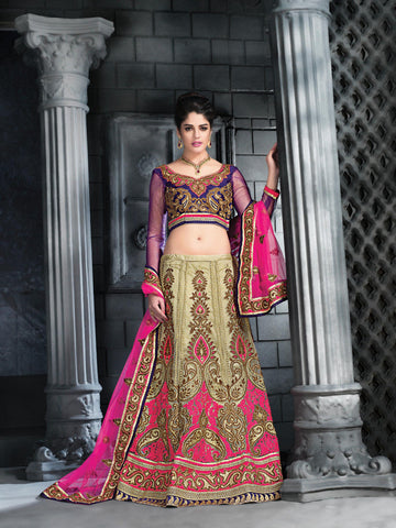Women's Beige Color Pretty Lehenga Choli With Embroidery Work In Traditional Look