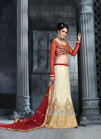 Women's Beige Color Pretty Lehenga Choli With Lace Work In Traditional Look