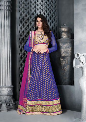Women's Net Fabric & Navy Blue Color Pretty A Line Lehenga Style With Crystals Work Dupatta