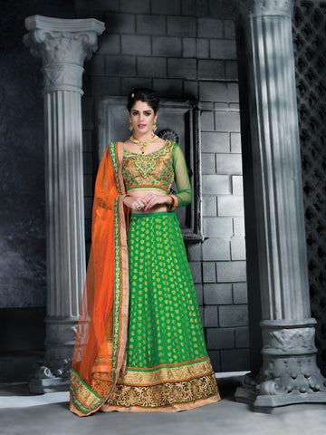 Women's Net Fabric Lime Green Color Pretty Unstitched Lehenga Choli With Stones Work Dupatta