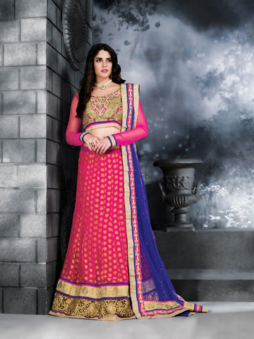 Women's Deep Pink Color Net Fabric Pretty Unstitched Lehenga Choli With Crystals Work Dupatta