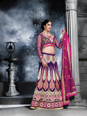 Women's Purple Color & Georgette Fabric Pretty Unstitched Lehenga Choli