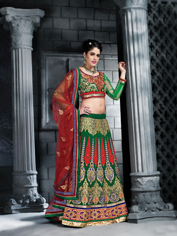 Women's Georgette Fabric & Chrome Green Color Pretty A Line Lehenga Style With Resham Work Dupatta