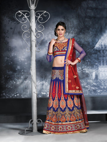 Women's Georgette Fabric & Navy Blue Color Pretty A Line Lehenga Style With Crystals Work Dupatta