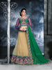 Women's Dark Cream Color Net Fabric Pretty Unstitched Lehenga Choli With Resham Work Dupatta