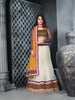 Women's Net Fabric Butter Cream Color Pretty Unstitched Lehenga Choli With Stones Work Dupatta