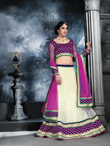 Women's Net Fabric Beige Color Pretty Unstitched Lehenga Choli With Crystals Work Dupatta