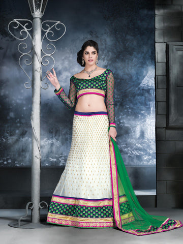Women's Net Fabric Butter Cream Color Pretty Unstitched Lehenga Choli With Resham Work Dupatta