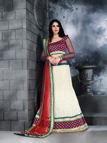Women's Butter Cream Color Pretty A Line Lehenga Style With Stones Work Dupatta