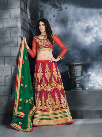 Women's Red Color Net Fabric Pretty Unstitched Lehenga Choli With Stones Work Dupatta