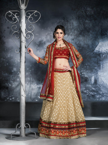 Women's Jacquard Fabric & Beige Color Pretty Unstitched Lehenga Choli