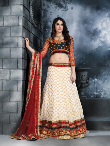 Women's Banarasi Silk Fabric & Cream Color Pretty Unstitched Lehenga Choli