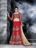 Women's Net Fabric & Red Color Pretty Unstitched Lehenga Choli With Resham Work Dupatta