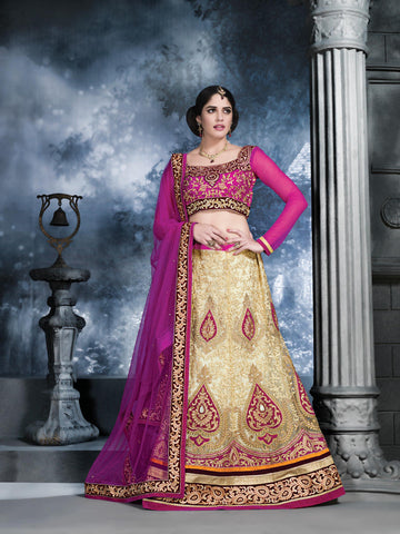Women's Beige Color Pretty Lehenga Choli With Crystals Work In Traditional Look