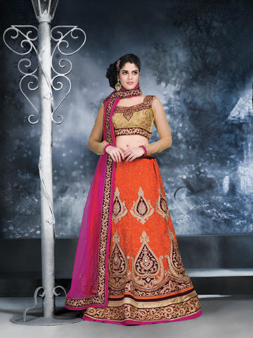 Women's Net Fabric Orange Color Pretty Unstitched Lehenga Choli With Lace Work Dupatta