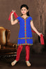 Girl's Incredible Red Art Silk in Embroidered & Printed Readymade Salwar Kameez