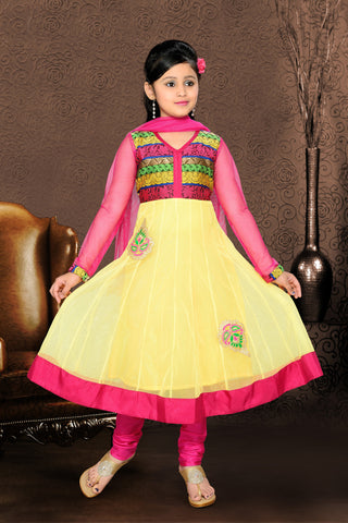 Girl's Pink Art Silk in Embroidered Incredible Readymade Salwar Kameez