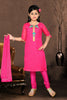 Girl's Incredible Pink color Art Silk Readymade Salwar Kameez in Embroidered with Mix Embroidery